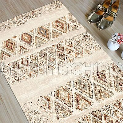 MADELYN RED BEIGE DIAMOND FADED TRIBAL POWER LOOMED RUG RUNNER 80x400cm **NEW**