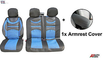 Premium Comfort Padded Blue Seat Covers Armrest For Ford Transit Transit Custom