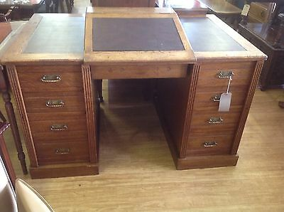 Fantastic Vintage Oak Brown Leather Topped Office Desk With Writing Slope