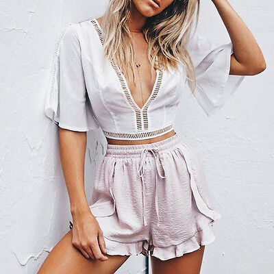 Summer Women Shorts Ruffle High Waisted Loose Drawstring Breathable Casual Short