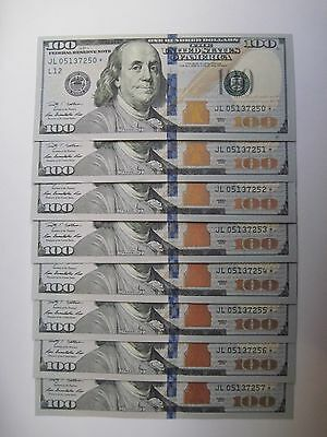 Group of 8 Consecutive Uncirculated -- 2009 $100 Dollar Star Notes Uncertified