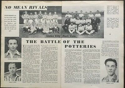"""1958 Football TEAM picture article STOKE + PORT VALE """"No Mean Rivals"""" (on 3xA4 )"""