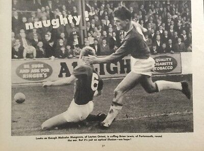 """1964 Football action picture MUSGROVE Orient v BRIAN LEWIS Portsmouth (8x6"""")"""