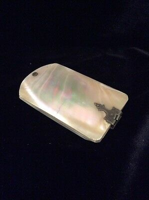 Antique Mother Of Pearl Aide Memoire Notebook With Bovine Bone Pages C. 1890's
