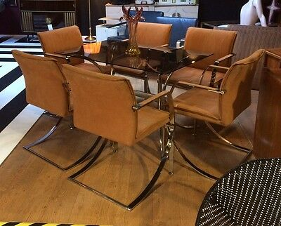 Set of 6 high quality Casala Italian chrome and suede chairs (ref 16.8.134)
