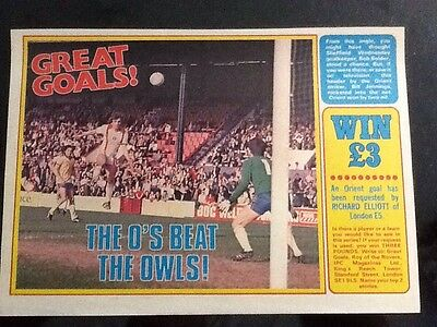 1970s A4 Football magazine action/picture BILL JENNINGS Orient goal V Sheff Wed