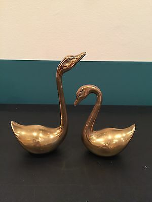 "Pair of Heavy Gold Brass Swan Figurines 8.5"" and 6"" Vintage Korea"
