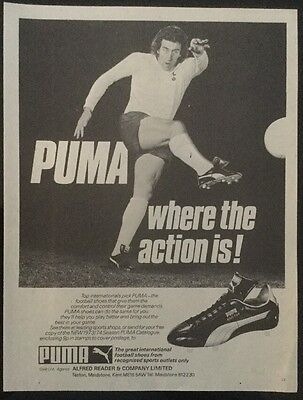 1973 A4 Football picture poster MARTIN CHIVERS Tottenham advertising PUMA BOOTS