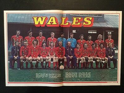 1976 STUNNING A3 Football TEAM picture/poster  WALES - Mike Smith Manager