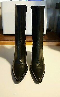 HOKUS POKUS Size 6.5 Black Leather, Block Heel, Mid Calf Fashion Boots