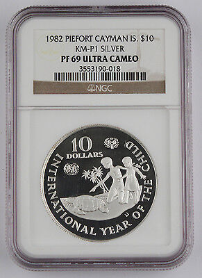 Cayman Islands 1982 Piefort Year of Child $10 Silver Proof Coin PF69 NGC KM-P1