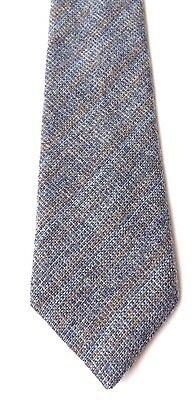 Vintage St Michael Wool Neck Tie Blue and Grey with Faint Gold Stripe FREE P&P