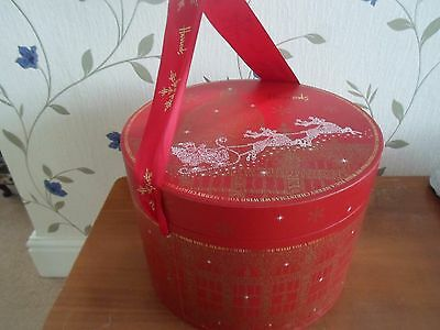Fab Bright Cherry Red Harrods Christmas Hat Box Great for Display Storage / Prop