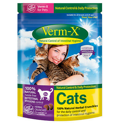 Verm-x Herbal Crunchies for Cats x 120 Gm Tube - Pet Parasite/Worm Control