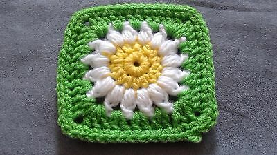 20 Daisy/Sunflower Crocheted Granny Squares  4-1/2 X 4-1/2 inches (Handmade)