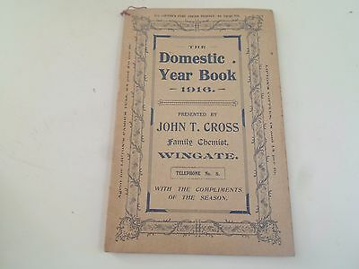 Rare Antique The Domestic Year Book 1916 by John T Cross Family Chemist Wingate