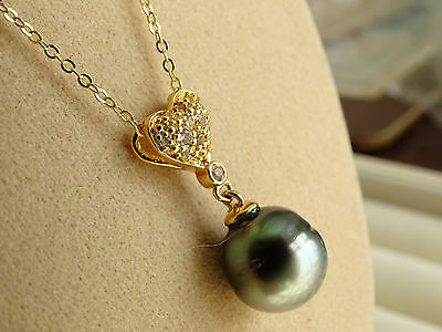 "Genuine Tahitian Pearl & Topaz Heart 14K Y Gold/925 18"" Pendant Necklace"