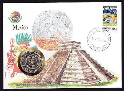 1985 Numisbrief Mexico Mexican coin cover Campeche stamp & Cachet South America