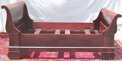 Rare Southern Us Empire Full Sized Sleigh Bed In Crotched Mahogany