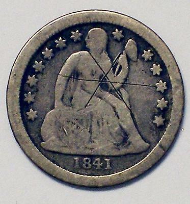 1841 O 10C Drapery Liberty Seated Silver Dime Coin