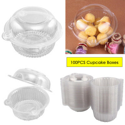 100 Large Cupcake Holder Clear Plastic Single Muffin Case Box Pods Home Kitchen