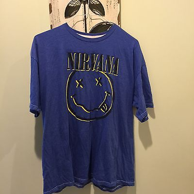 Men's Nirvana Blue Smiley Face T-Shirt Size 2XL XXL
