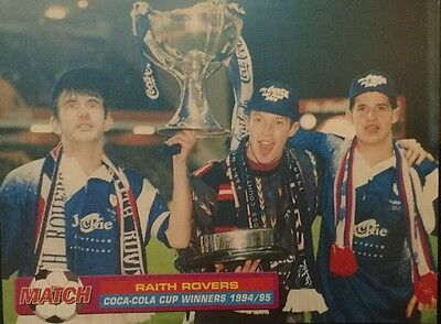 A4 Football picture poster RAITH ROVERS 3 Players Celebrate With CUP 1994/95