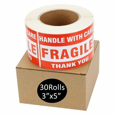 30 Roll 500/Roll Large 3x5 Fragile Stickers Handle with Care Shipping Labels Red