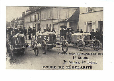 French Motor Racing Scene 1908.Coupe Des Voiturettes.Reprint card