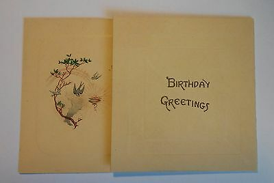 Vintage Greeting Card – Birthday – c.1920 – Blank – Tree, Bird and Pot of Gold