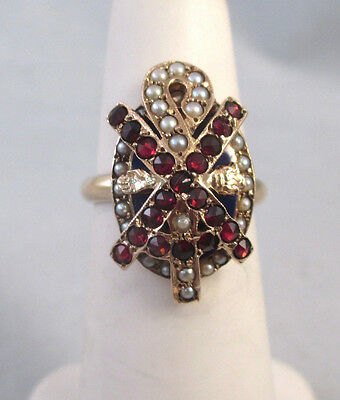 Vintage 10K & 14K GOLD ALPHA CHI RHO LABARUM GARNET SEED PEARL BADGE RING Sz 4