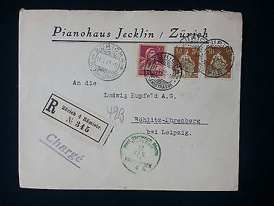 1923 Registered Switzerland Air Cover Cover Pianohaus Jecklin, Zurich To Leipzig