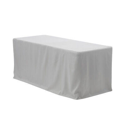 6 ft Fitted Rectangular Premium Polyester Tablecloth Gray