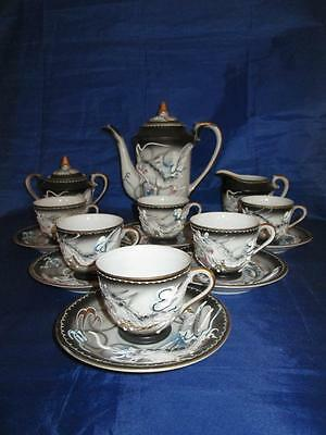 VINTAGE JAPANESE RAISED DRAGONWARE MORIAGE TEA SET 15pc