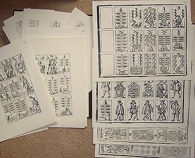 ♥ ♥18 Playing Card Sheets by Stralsund 18 alte Abzüge vom original Druckstock♥ ♥
