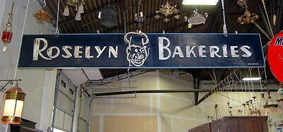 Original 1940s Masonite Double Sided Roselyn Bakeries Neon Sign, Vintage Antique