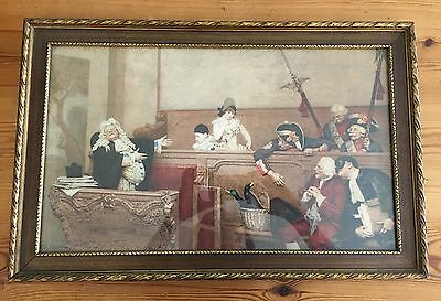 antique  French Court Lithograph Print Gold Gilt Wood Frame 22.5 x 14.5
