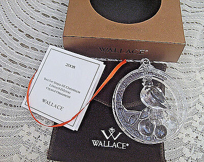 WALLACE Crystal Ornament 1st Day of Christmas Partridge In A Pear Tree 2008 Ltd