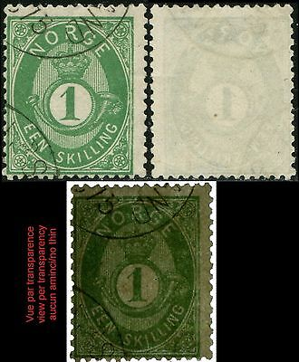 NORVEGE/NORWAY/NORGE Yt/Sc/Mi:16  1s Yellow Green  (1875)  Obl/Used