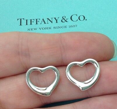 Tiffany & Co. Silver 14k 14ct Gold Posts Elsa Peretti Large Open Heart Earrings