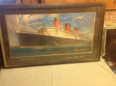 Antique Original 1930's Queen Mary White Star ocean liner poster