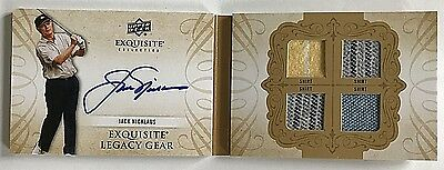 2014 UD Exquisite Jack Nicklaus On-Card Auto #d 1/25 Legacy Gear Book Quad Shirt