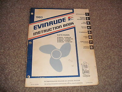1980 INSTRUCTION BOOK 9.9/15 Models E10RCS Outboard Marine Engines Service Rare