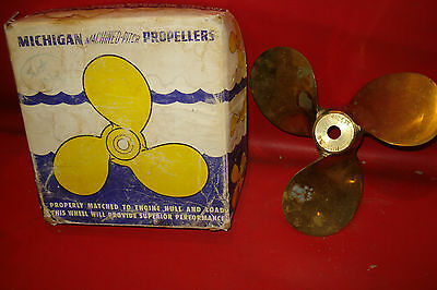 8 1/4 x 9 PITCH outboard bronze PROPELLER w/box scott or firestone 10hp MICHIGAN