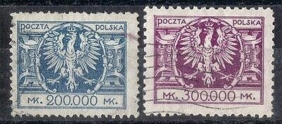 Poland.  1924.  Definitives. SG213-214.  Used.