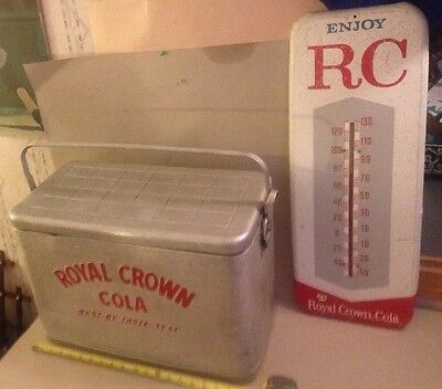Vintage ROYAL CROWN Embossed Chest COOLER RC Cola THERMOMETER Soda Advertising.