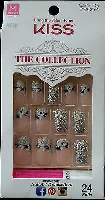 Kiss The Collection Glue On 7 Day Wear Med Length Silver/Glitter - 24 Nails