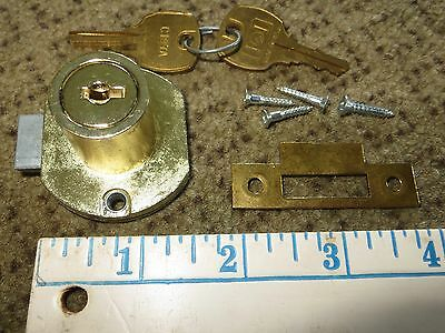 National Cabinet Lock Co. C8706 spring loaded beveled drawer lock w/2 keys NEW