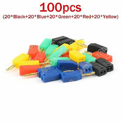 100 Pcs 2mm Gold Plated Banana Plug 5 Color Connector Adapter US