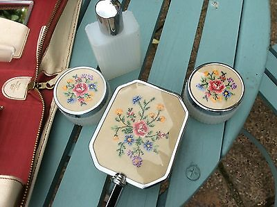 Vintage Ladies Travel Set Complete Embroidered In Cream Leather Case. Good Con.